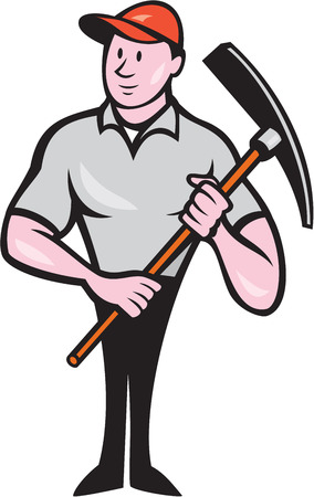 pickaxe: Illustration of a construction worker wearing hat holding pickaxe on isolated white background done in cartoon style.