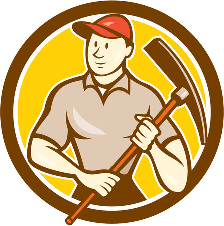 pickaxe: Illustration of a construction worker wearing hat holding pickaxe set inside circle on isolated background done in cartoon style. Illustration