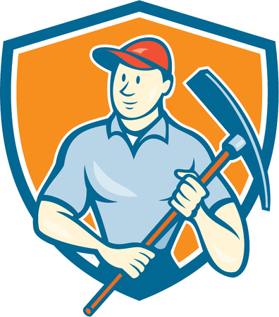 pickaxe: Illustration of a construction worker wearing hat holding pickaxe set inside shield crest on isolated background done in cartoon style. Illustration
