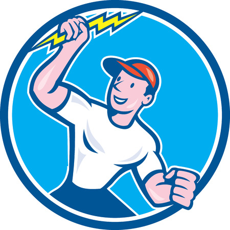 Illustration of an electrician construction worker standing holding a lightning bolt looking to the side set inside circle done in cartoon style on isolated background. Illustration
