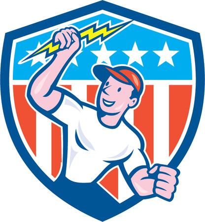 Illustration of an electrician construction worker standing holding a lightning bolt looking to the side set inside circle with stars and stripes in the background done in cartoon style. Vector