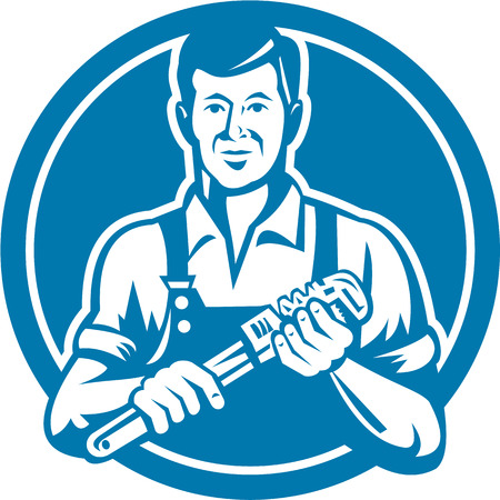 Illustration of a plumber holding monkey wrench facing front set inside circle on isolated background done in retro style.