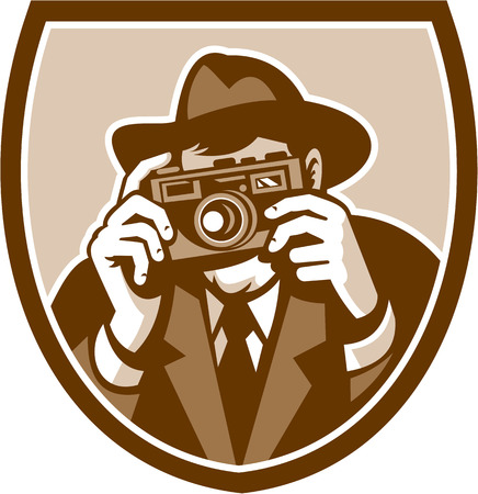 facing to camera: Illustration of a photographer shooting aiming with vintage camera facing front set inside shield crest on isolated background done in retro style. Illustration