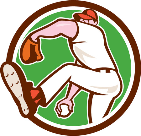 Illustration of an american baseball player pitcher outfilelder throwing ball set inside circle on isolated background done in cartoon style. Vector