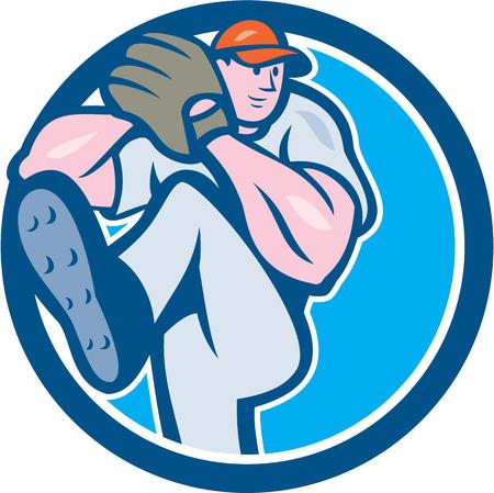 guante de beisbol: Ilustración de un jugador de béisbol lanzador outfilelder americana con las piernas encima de conseguir listo para lanzar la bola dentro del círculo en el fondo aislado hecho en estilo de dibujos animados.