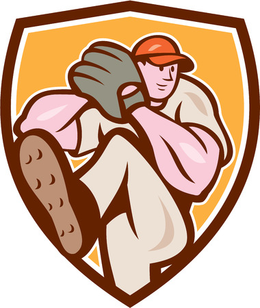 Illustration of an american baseball player pitcher outfilelder with leg up getting ready to throw ball set inside shield crest on isolated background done in cartoon style. Vector