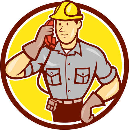 telephone cartoon: Illustration of telephone repairman worker tradesman holding calling phone set inside circle done in cartoon style on isolated background