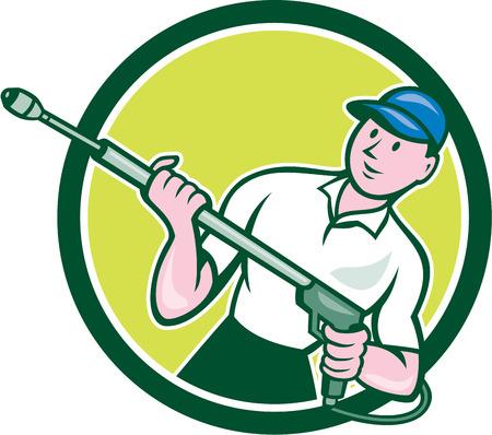 Illustration eines männlichen Druckreinigung Reinigungs Arbeitnehmer, die eine Wasser-Blaster von vorne Satz im Kreis Form festgelegt auf weißem Hintergrund im Cartoon-Stil getan betrachtet.