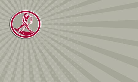 field hockey: Tarjeta de negocios que muestra la ilustraci�n de un jugador de hockey de campo que ejecuta con el palillo de golpear la bola Foto de archivo