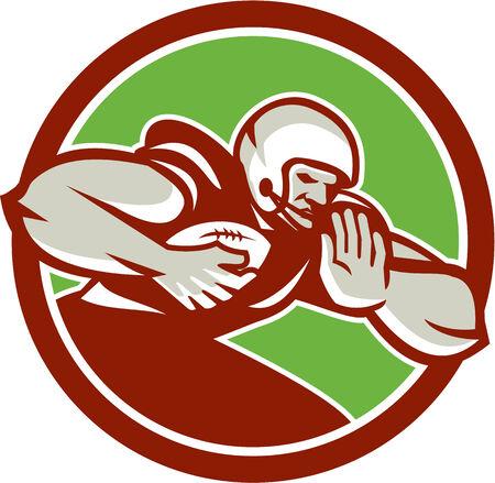 Illustration of an American football gridiron player holding ball Illustration