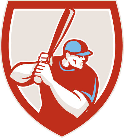 hitter: Illustration of a american baseball player batter hitter looking to the side holding bat ready to strike set inside shield crest on isolated background done in retro style.