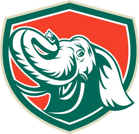 kel: Ilustrace sloní hlavy Tusk při pohledu zepředu, umístěný uvnitř štítu erbu