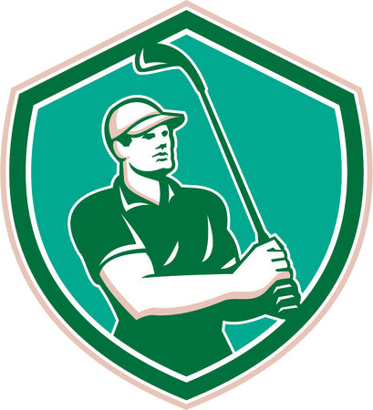 golfer swinging: Illustration of a golfer playing golf swinging club tee off set inside shield crest on isolated background done in retro style.