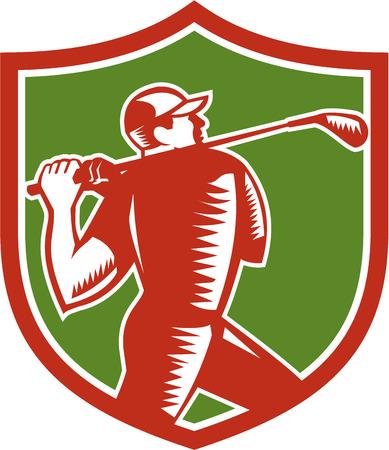 golfer swinging: Illustration of a golfer playing golf swinging club tee