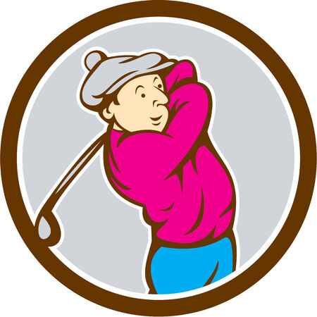 tee off: Illustration of a golfer playing golf swinging club tee off set Illustration