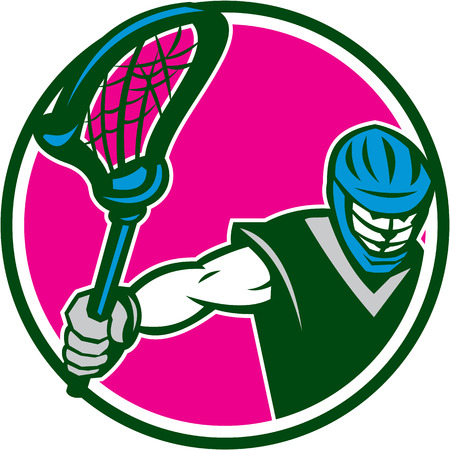 lacrosse: Illustration of a lacrosse player holding a crosses
