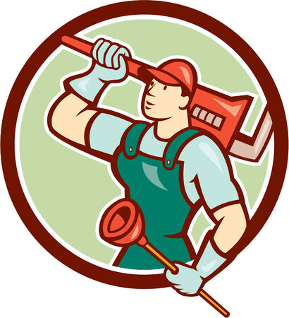 people looking up: Illustration of a plumber looking up holding monkey wrench on shoulder  Illustration