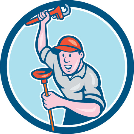 front raise: Illustration of a plumber holding monkey wrench with raise hands