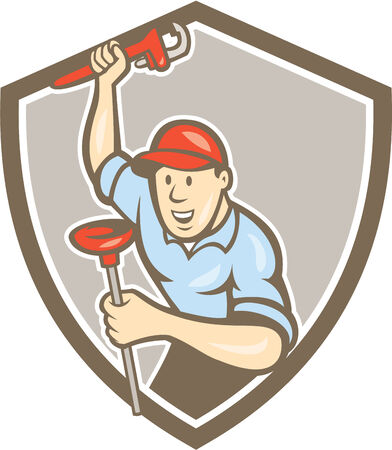 front raise: Illustration of a plumber holding monkey wrench raised high