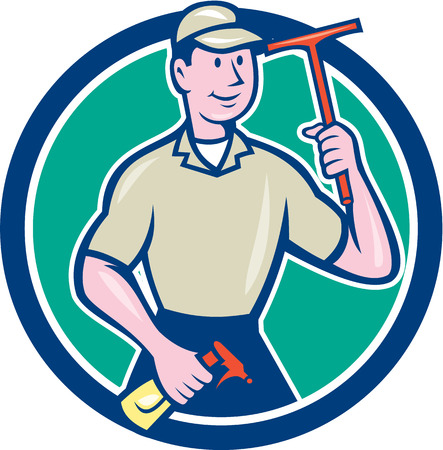 washer: Illustration of a window washer cleaner holding squeegee