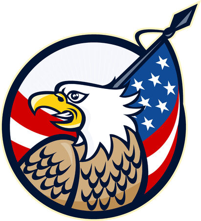 american bald eagle: Illustration of an American Bald Eagle looking to side with Stars and Stripes flag set inside circle done in retro style.