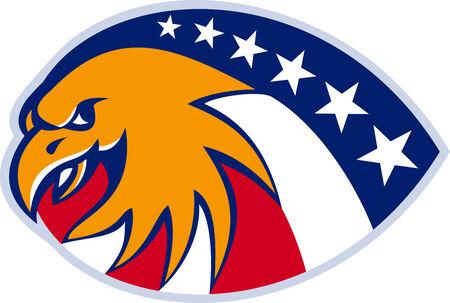 aigle royal: Illustration d'une tête d'aigle américain avec la bannière étoilée indicateur défini sur fond blanc isolé fait dans le style rétro. Illustration