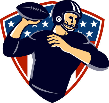 Illustration of an american quarterback football player passing ball set inside shield with stars and stripes in the background done in retro style. Illustration