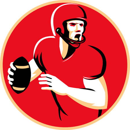 Illustration of an american quarterback football player shouting  passing ball set inside circle done in retro style. Illustration