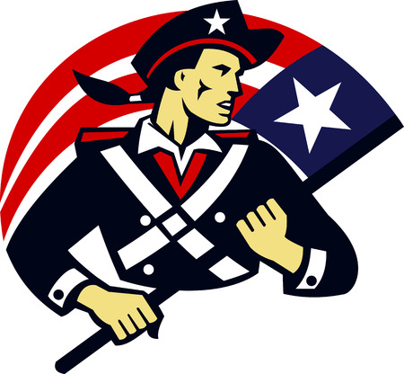Illustration of an american patriot minuteman militia revolutionary soldier holding usa stars and stripes flag done in retro style.
