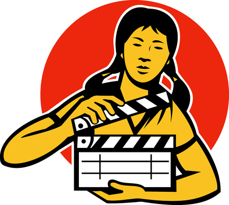 film slate: Illustration of an Asian filmcrew woman girl with movie clapboard clapper viewed from front set inside circle done in retro style.