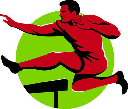 hurdles: Illustration of a track and field athlete jumping hurdles viewed from side done in retro style. Illustration