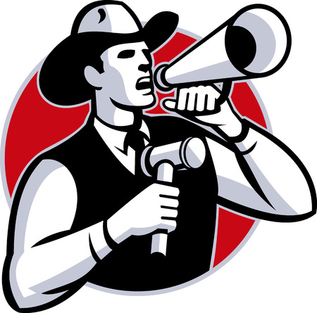Illustration of a cowboy auctioneer with gavel hammer shouting on bullhorn set inside circle done in retro style. Illustration
