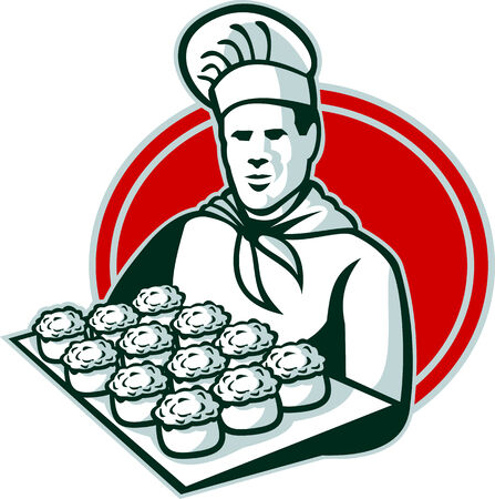 ova: Illustration of a baker chef cook serving tray of pork meat pies set inside ellipse done in retro style.