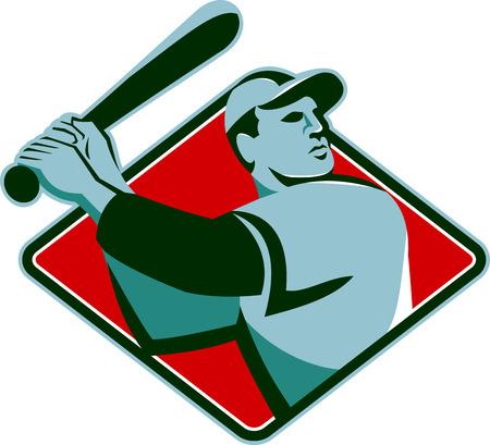 batting: Illustration of a baseball player with bat batting set inside diamond shape done retro style. Illustration