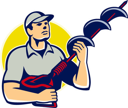 auger: Illustration of a builder tradesman worker holding a hole driller,earth auger,ground drill,ground driller,hole digger looking up done in retro style.