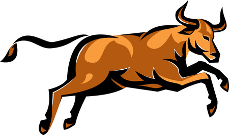 Ilustration of a texas longhorn bull jumping viewed from side done in retro style on isolated white background. Illustration