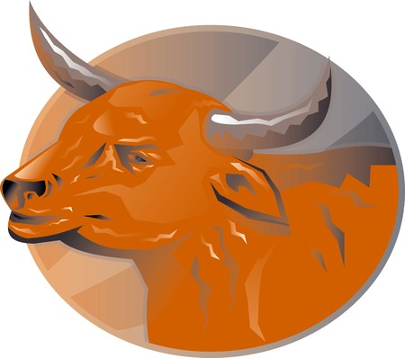bovine: Illustration of an angry bull head set inside ellipse done in retro style.