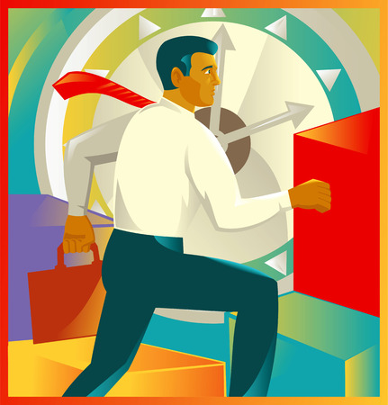 office clock: Illustration of a businessman office worker carrying briefcase running up stairs viewed from the side with clock in the background done in retro style.