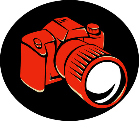 Illustration of a dslr digital camera viewed from front at a high angle set in black background done in retro style.