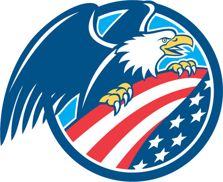 Illustration of an american bald eagle clutching a USA stars and stripes flag set inside circle done in retro style. Illustration