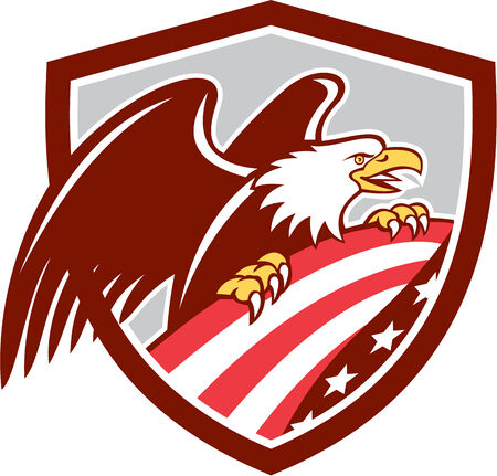 american bald eagle: Illustration of an american bald eagle clutching a USA stars and stripes flag set inside shield crest done in retro style.