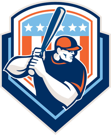 hitter: Illustration of a american baseball player batter hitter holding bat set inside shield crest with USA stars and stripes in the background done in retro style.