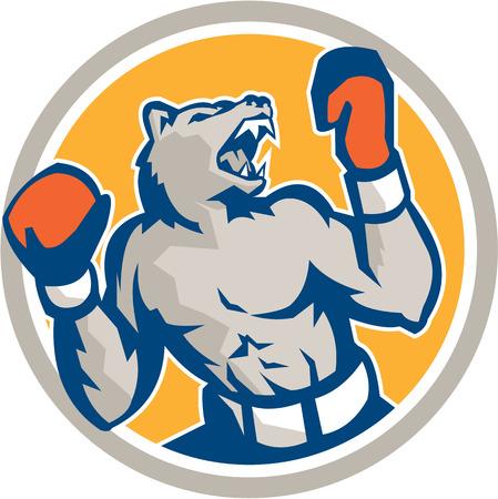 angry bear: Ilustraci�n de un boxeador oso enojado con los guantes en busca de hasta el lado dentro del c�rculo en el fondo aislado hecho en estilo retro. Vectores