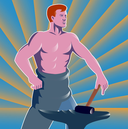 metal worker: Illustration of a blacksmith with hammer and anvil with sunburst in the background done in the retro style.