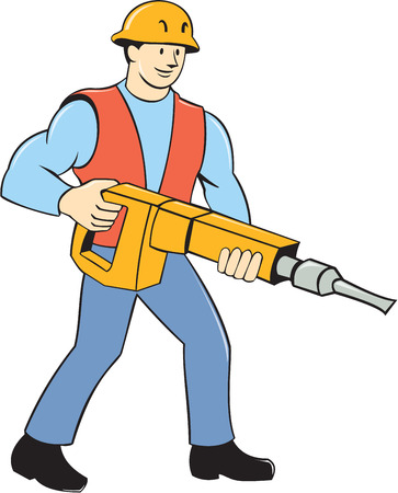 Illustration of a construction worker holding carrying jack hammer pneumatic drill on isolated white background done in cartoon style. Vector