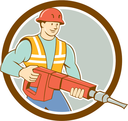 Illustration of a construction worker carrying holding jack hammer pneumatic drill set inside circle on isolated background done in cartoon style. Vector