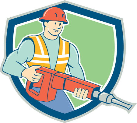 jack hammer: Illustration of a construction worker with jack hammer pneumatic drill set inside shield crest on isolated background done in cartoon style.