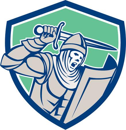 Illustrazione di cavaliere crociato in armatura completa con scudo brandendo brandisce una spada set all'interno forma scudo stemma sullo sfondo isolato fatto in stile retrò.