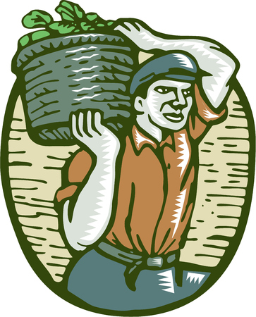 woodblock: Illustration of an organic farmer carrying basket of harvest crop of vegetables on shoulder done in retro woodcut linocut style. Illustration