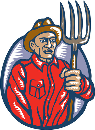 woodblock: Illustration of an organic farmer holding pitchfork facing front done in retro woodcut linocut style.